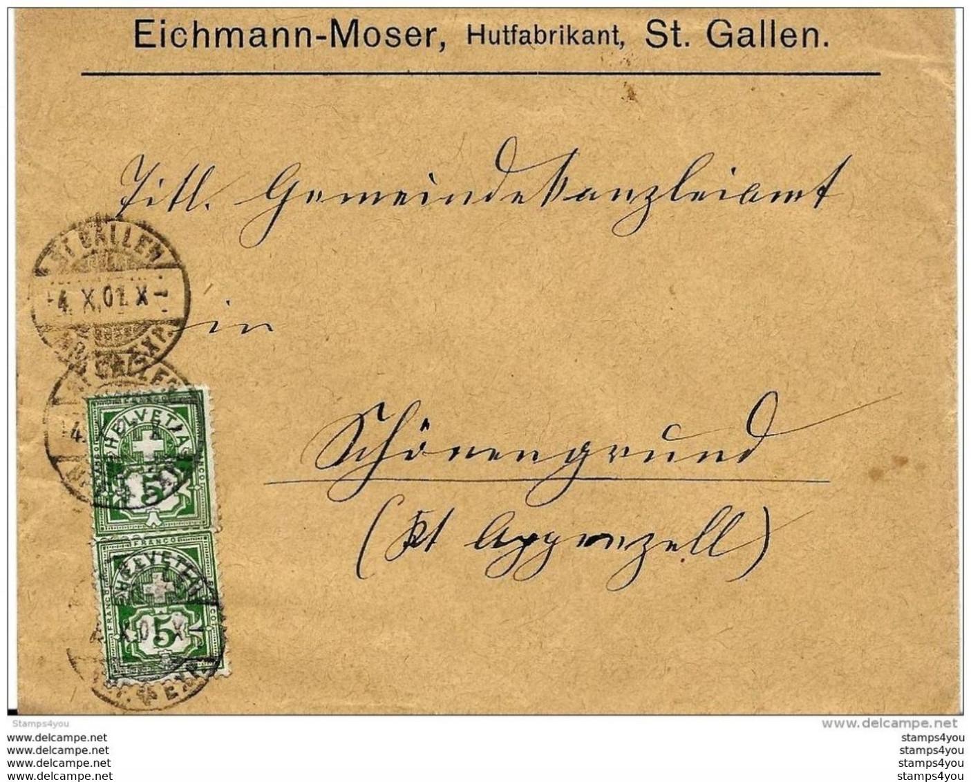 87 - 30 - Enveloppe Envoyée De St Gallen 1901 - Covers & Documents