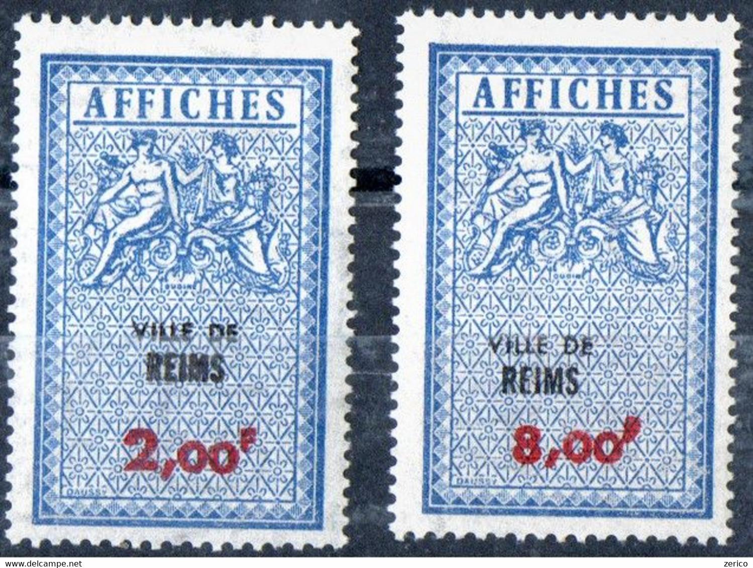 REIMS 2,00F* ET 8,00F* Taxes D'affichage  FISCAL  FISCAUX  AFFICHES  REVENUE - Fiscale Zegels