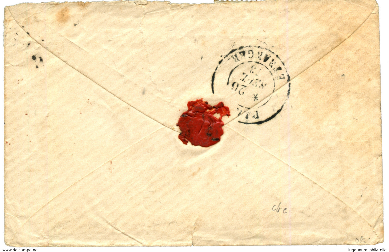 SIAM - THAILAND : 1873 FRANCE 25c (x4) On Envelope From GARE DE COMPIEGNE To BANGKOK (SIAM). Extremely Scarce PRE-U.P.U  - Siam
