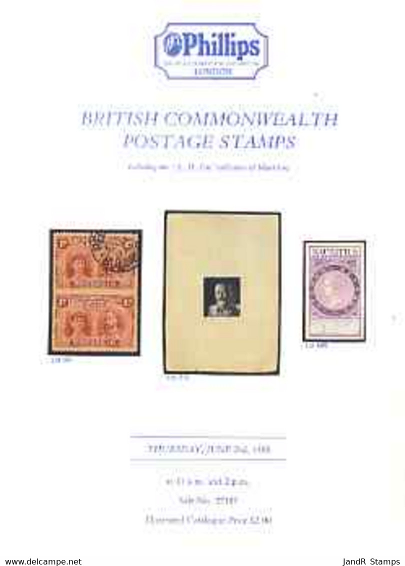 Auction Catalogue - British Commonwealth - Phillips 2 June 1988 - Incl The A H Fitt Coll Of Mauritius - Cat Only - Other