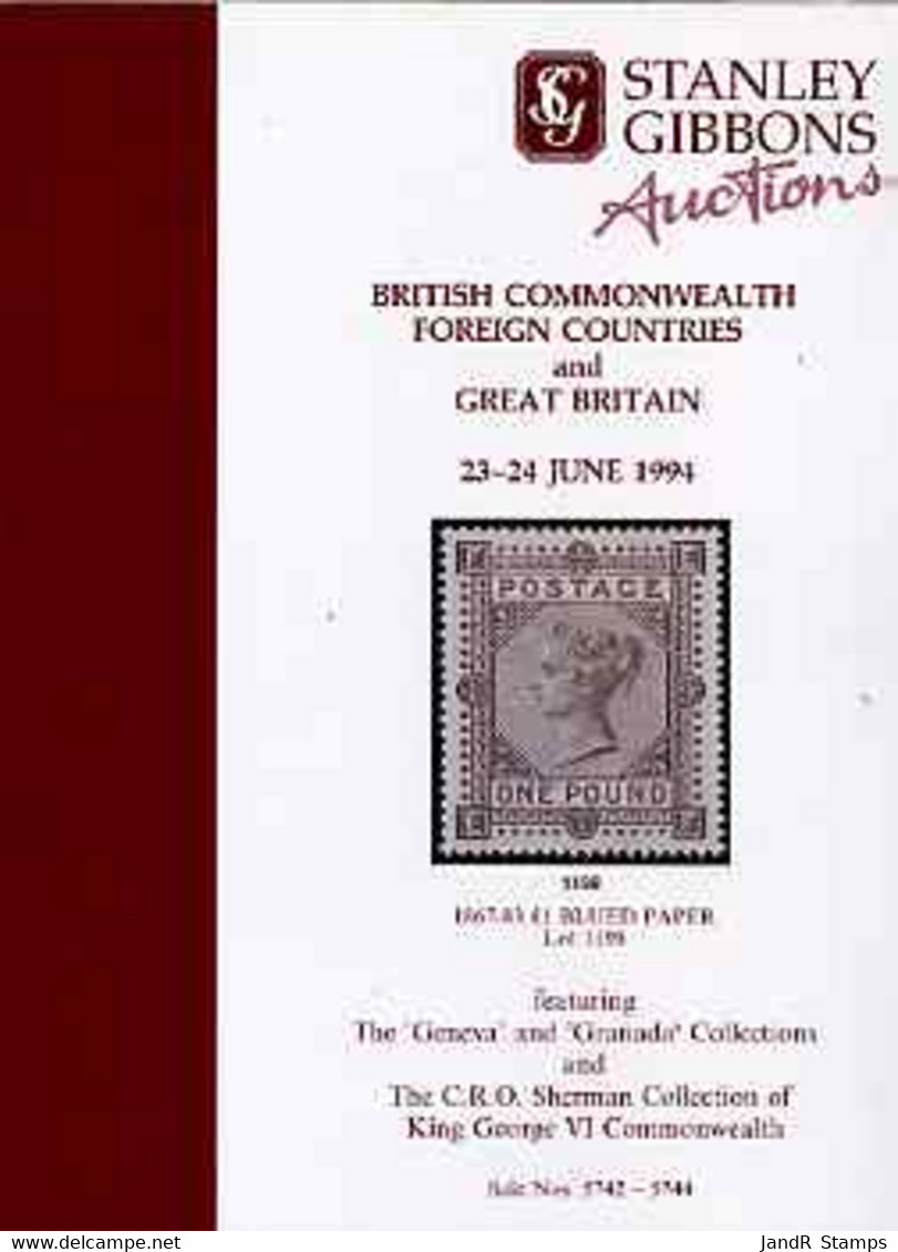 Auction Catalogue - Great Britain - Stanley Gibbons 23-4 June 1994 - Incl The Geneva & Granada Collections - Other