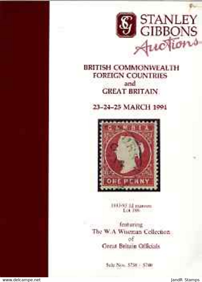 Auction Catalogue - Great Britain - Stanley Gibbons 23-5 Mar 1994 - Incl The Wiseman Coll Of Officials Prices - Other