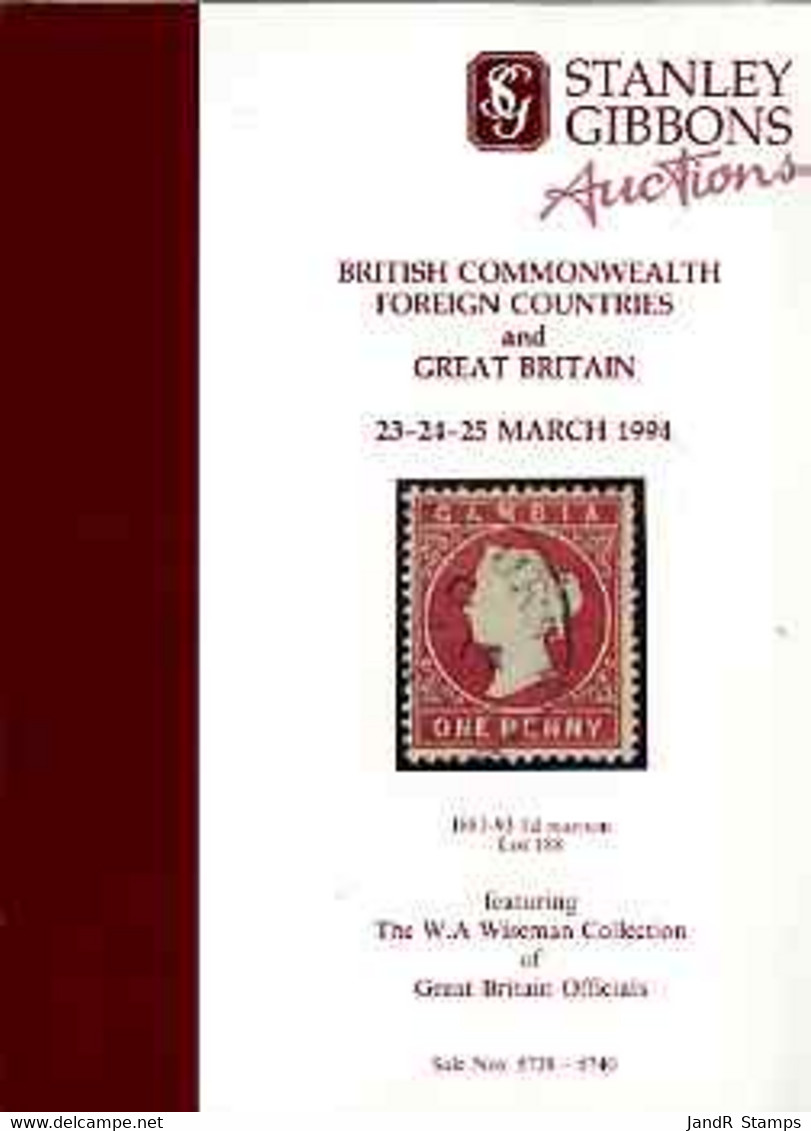 Auction Catalogue - Great Britain - Stanley Gibbons 23-25 Mar 1994 - Incl The Wiseman Coll Of Officials Cat Only - Other