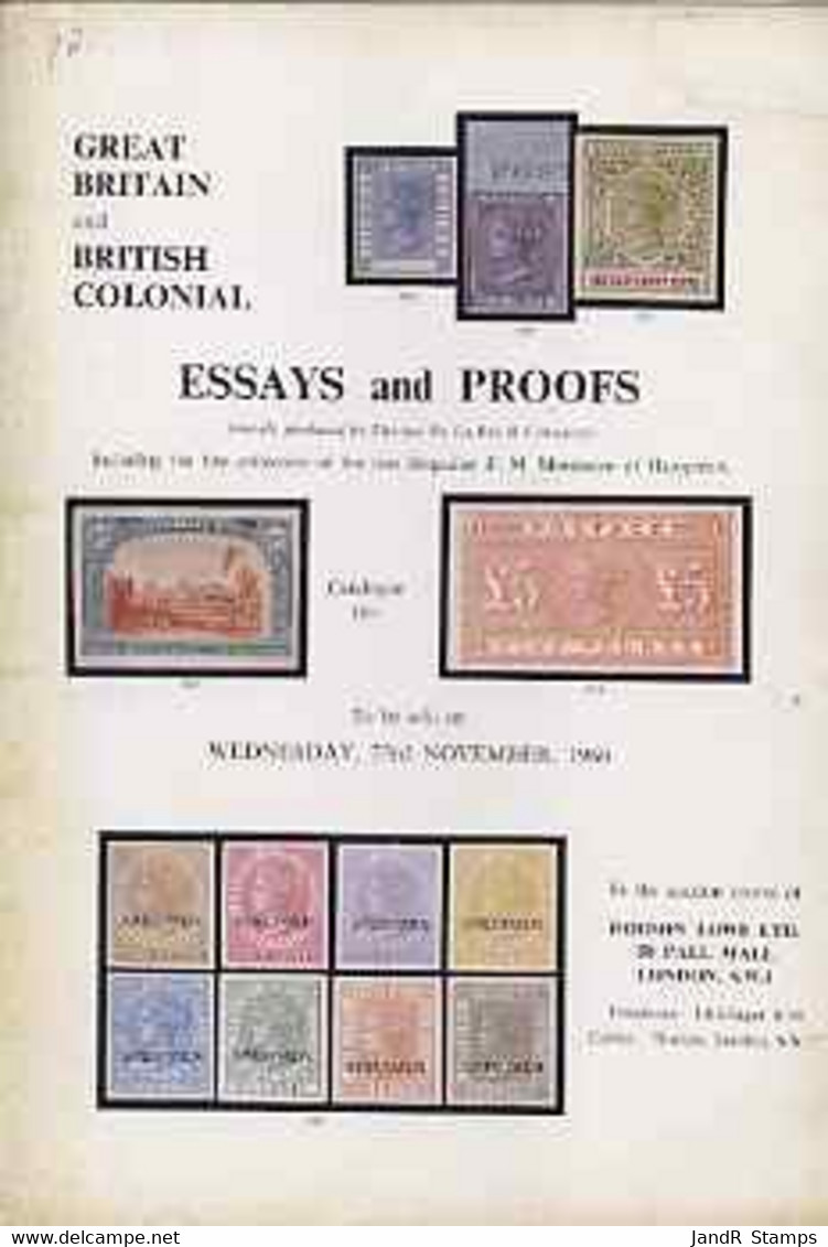 Auction Catalogue - Essays & Proofs - Robson Lowe 23 Nov 1966 - Incl The Brigadier F M Montresor Coll Cat Only - Other
