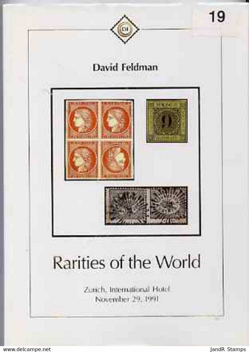 Auction Catalogue - Rarities Of The World - David Feldman 29 November 1991 - Hardbound Cat Only - Other
