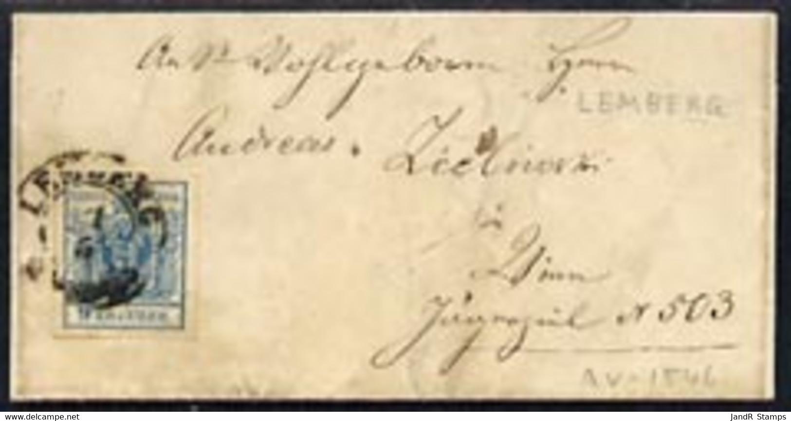 Austria 1850? Neat Wrapper Bearing 9k Blue Type III (4 Large Even Margins) Tied LEMBERG, B/stamped Wien - Sin Clasificación