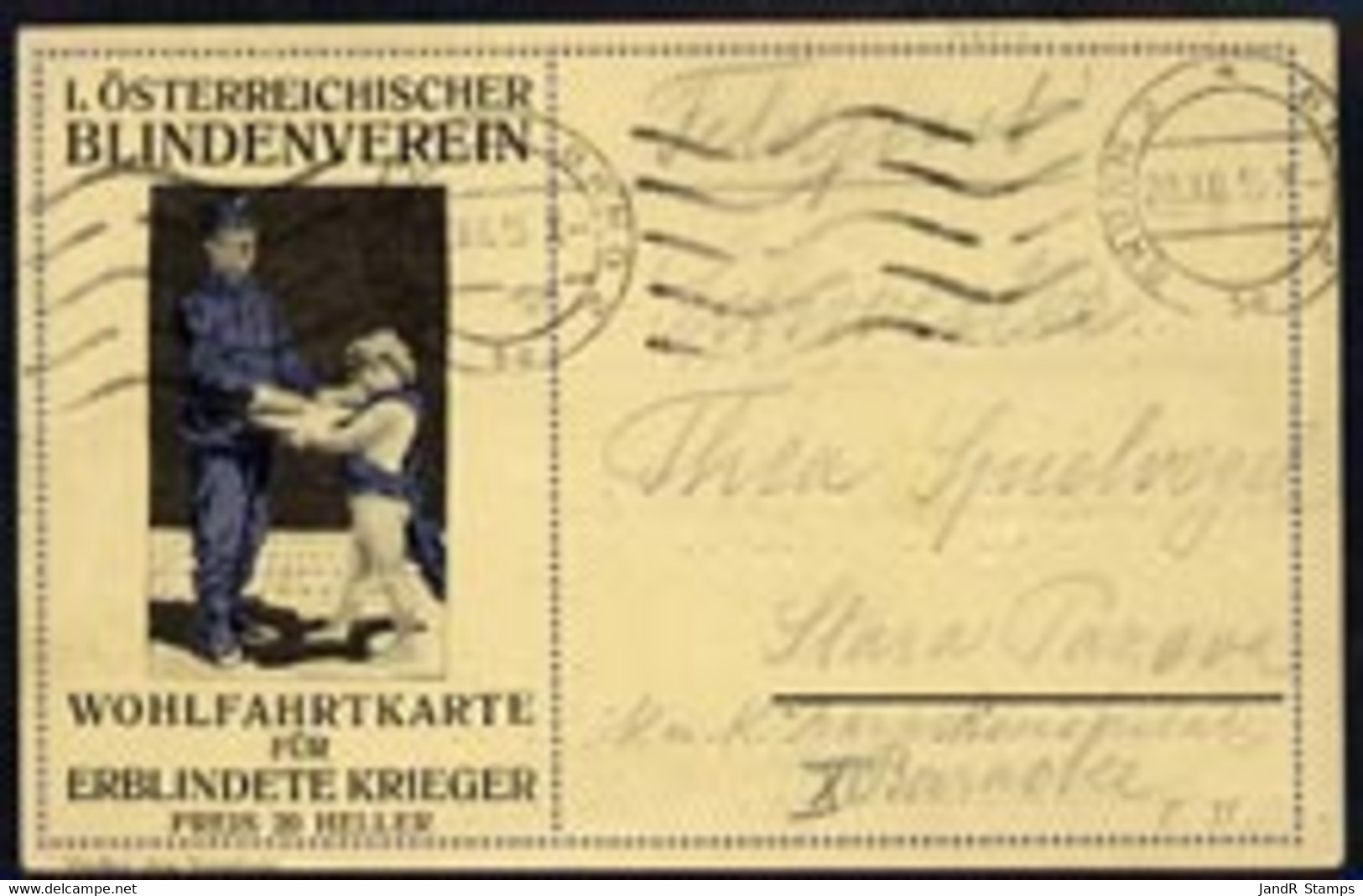 Austria 1915 Charity Braille Postcard Sent By Military Post - Sin Clasificación