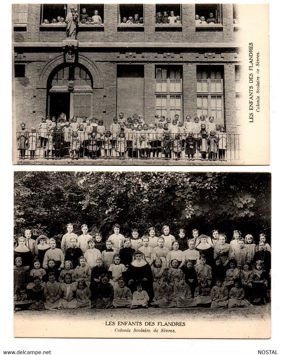 Colonie Scolaire De Sèvres (les Enfants Des Flandres) : 2 Cpa - Oorlog 1914-18