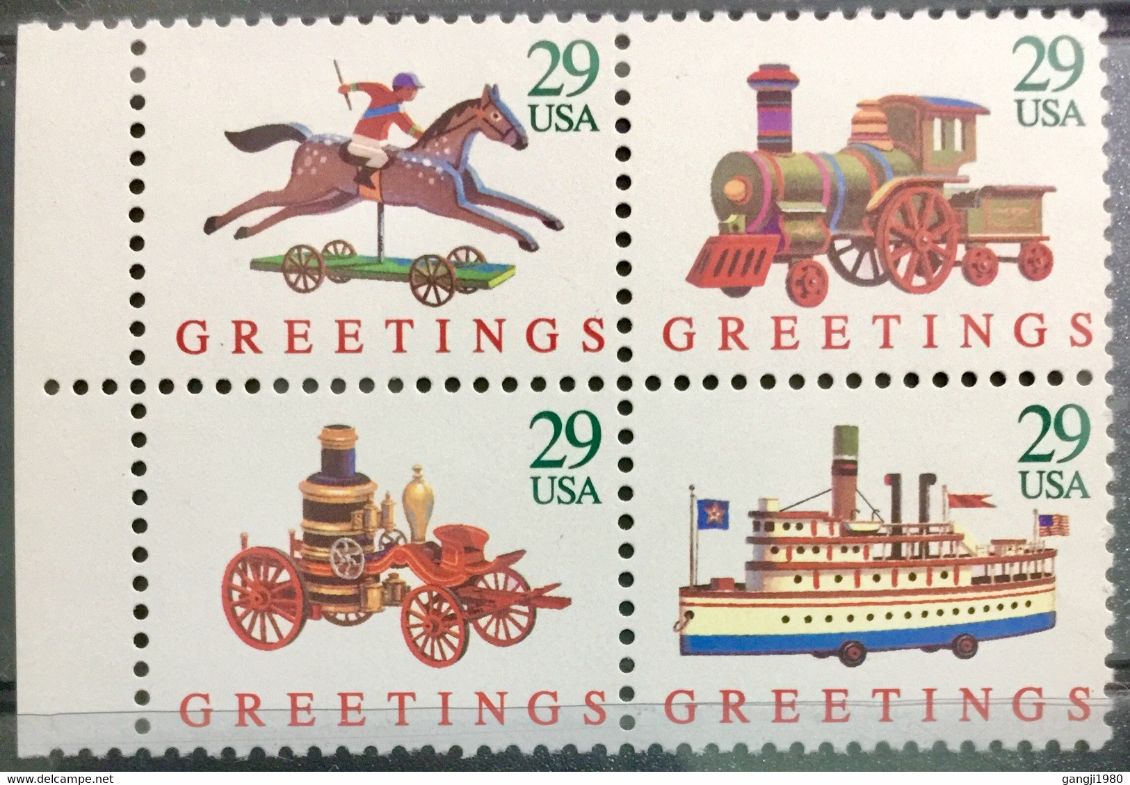 USA 1992 MNH STAMP ON CHRISTMAS GREETINGS RAILWAY, SHIP, TOY 4 DIFFERENT STAMP - America (Other)