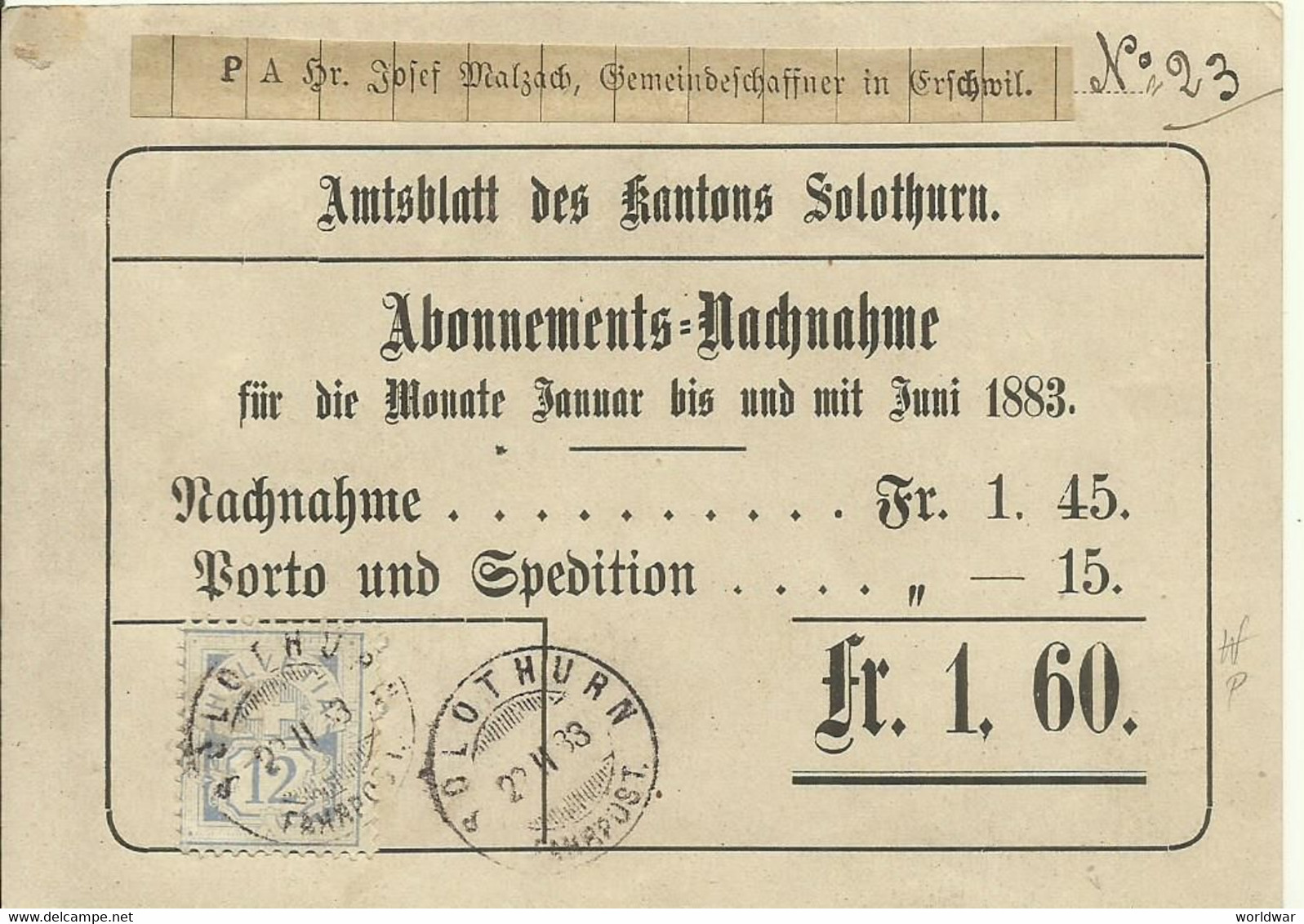 12c Abonnements-Nachname Amtsblatt Solothurn,  Stempel Solothurn & Erschwil - Covers & Documents