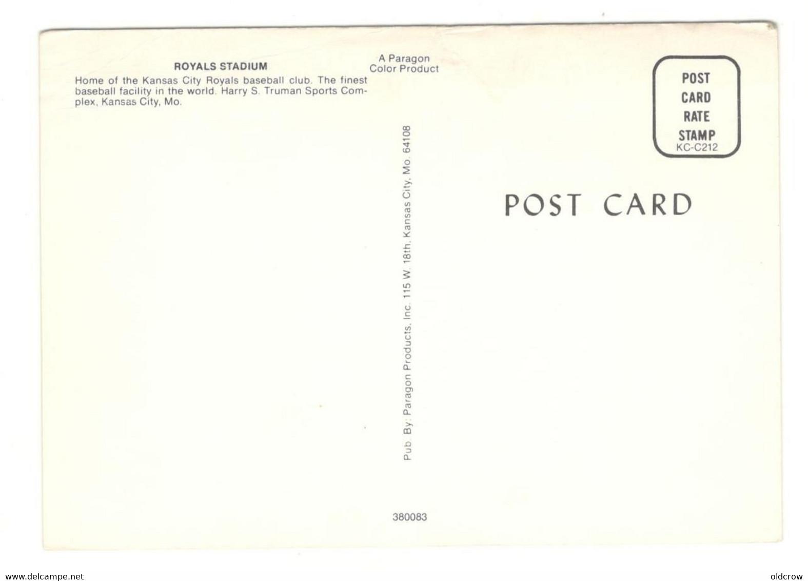 """Postcard Vintage Ephemera Baseball Unused 1970's """"Royals Stadium""""   Baseball, Kauffman Stadium See Description AA - Baseball"""