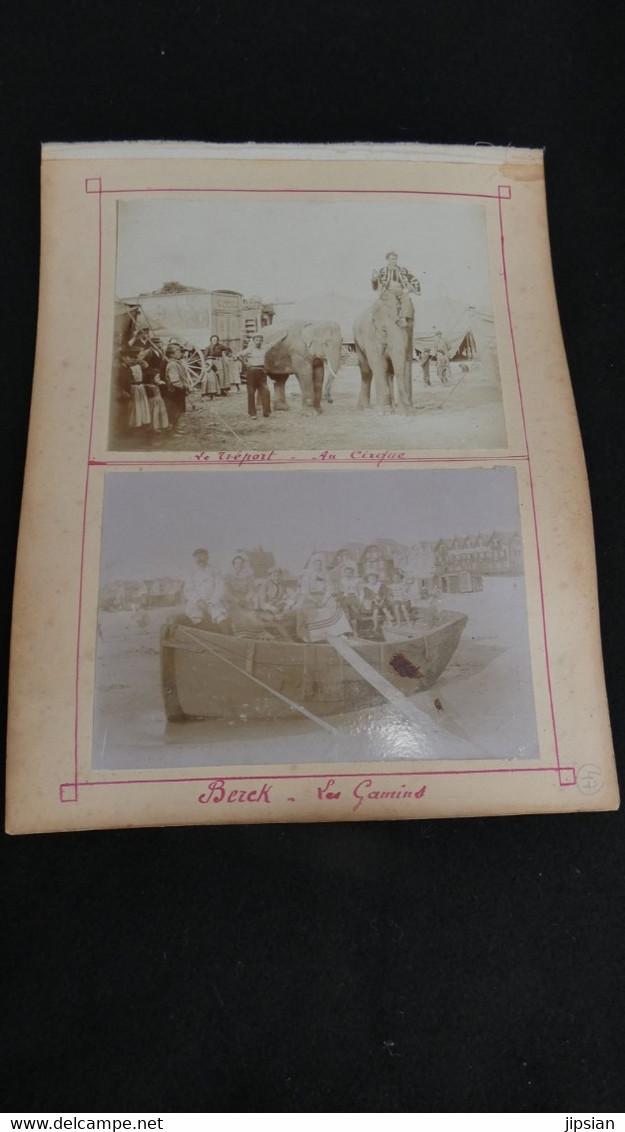 Lot De 4 Photos Originales De 1900 Dont Rare Cirque Au Tréport - éléphants Roulottes --  Et 3 Photos De Berck  Z2 - Old (before 1900)
