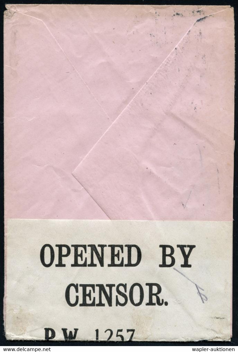 GROSSBRITANNIEN 1918 (3.9.) BandMaSt.: TOOTING S.W. 17 + Zensurstreifen: OPENED BY/CENSOR,/P W 1257 (für Kgf.-Sendungen, - 1. Weltkrieg