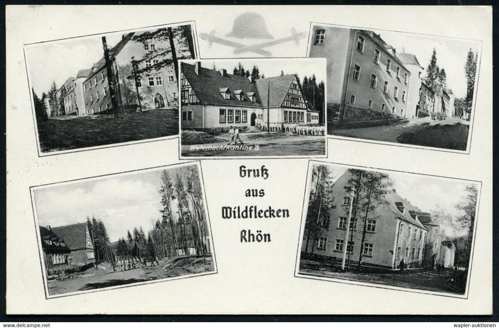 Wildflecken 1940 (14.1.) 1K: FELDPOST/b/--- Auf S/w.-Foto-Ak.: Gruß Aus Wildflecken Rhön Mit 5 Detailansichten Truppenüb - 1939-45