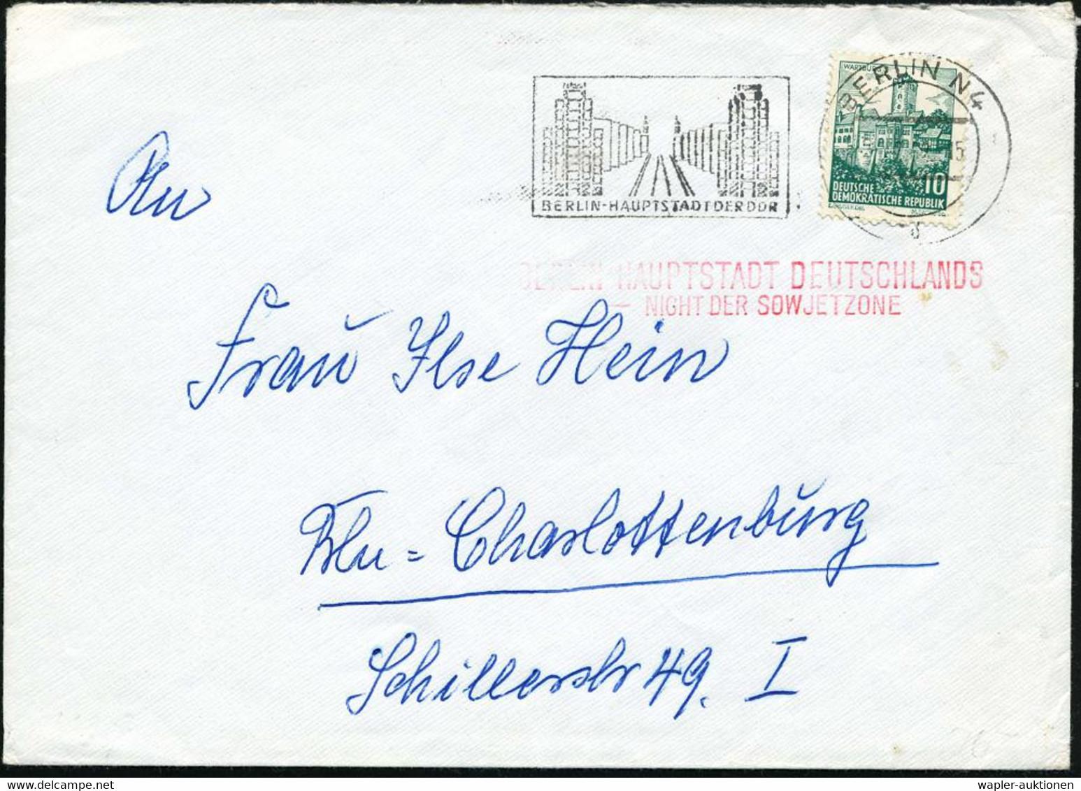 BERLIN N4/ BERLIN-HAUPTSTADT DER DDR 1962 (24.2.) MWSt (Stalinallee) + Roter, Amtl. 2L: BERLIN - HAUPTSTADT DEUTSCHLANDS - Sin Clasificación