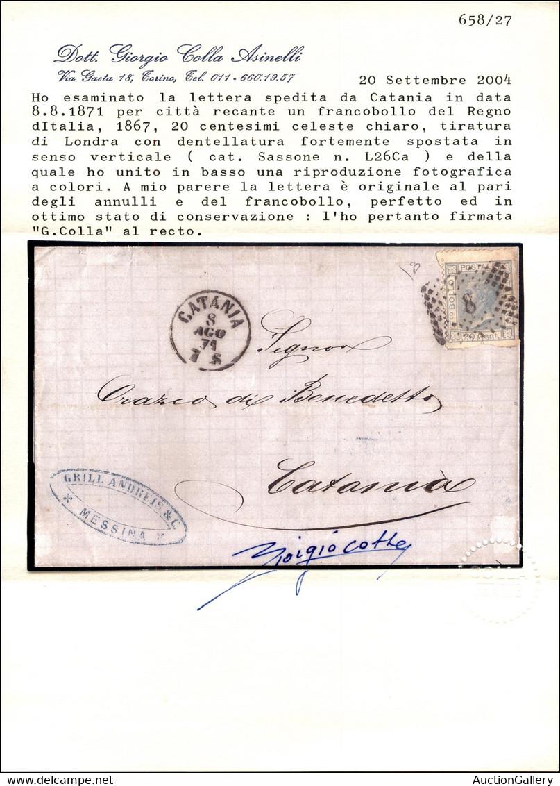 REGNO - VITTORIO EMANUELE II - Formato Diverso - 20 Cent De La Rue (L26 Varietà) Con Dentellatura Orizzontale Molto Spos - Non Classés