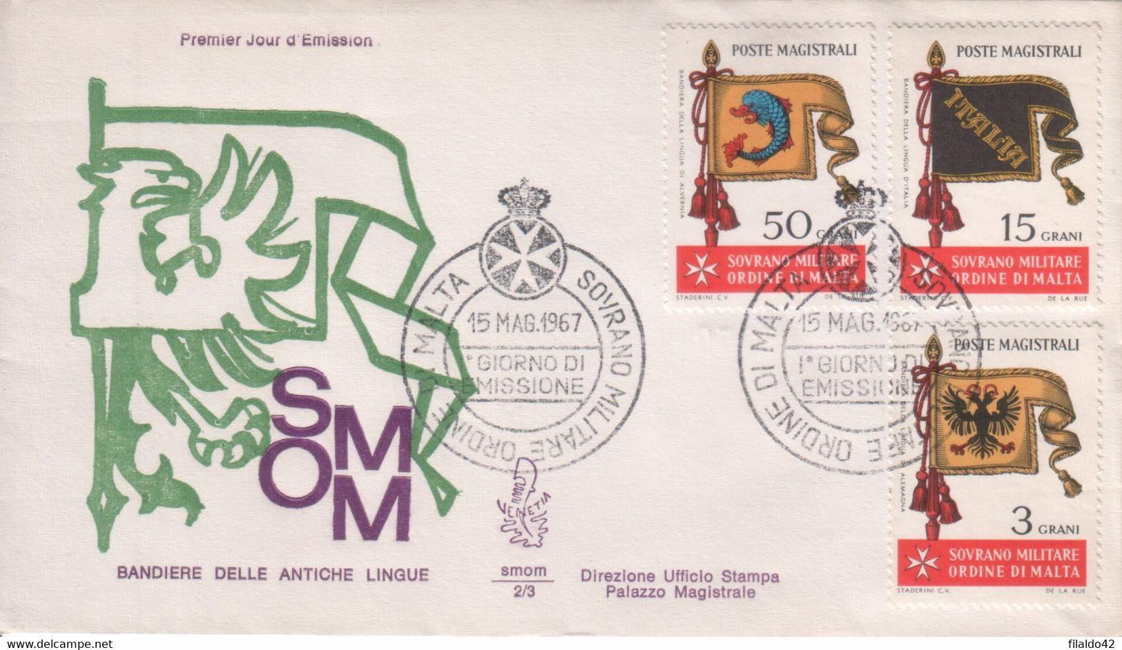 """SMOM - 1967 - FDC """"Antiche Bandiere Dell'Ordine"""" S. Cpl 9v Su 3 Buste (rif.10/18 Cat. Unificato) - Malte (Ordre De)"""