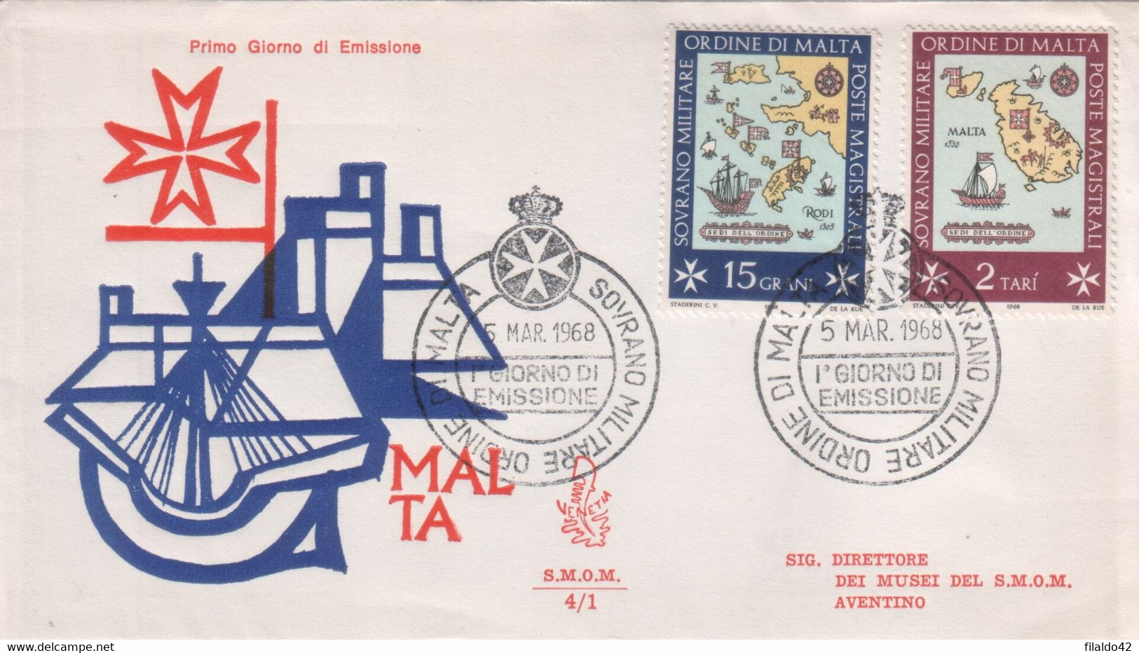 """SMOM - 1968 - FDC """"Sedi Dell'Ordine"""" S. Cpl 4v Su 2 Buste (rif. 23/26 Cat. Unificato) - Malte (Ordre De)"""