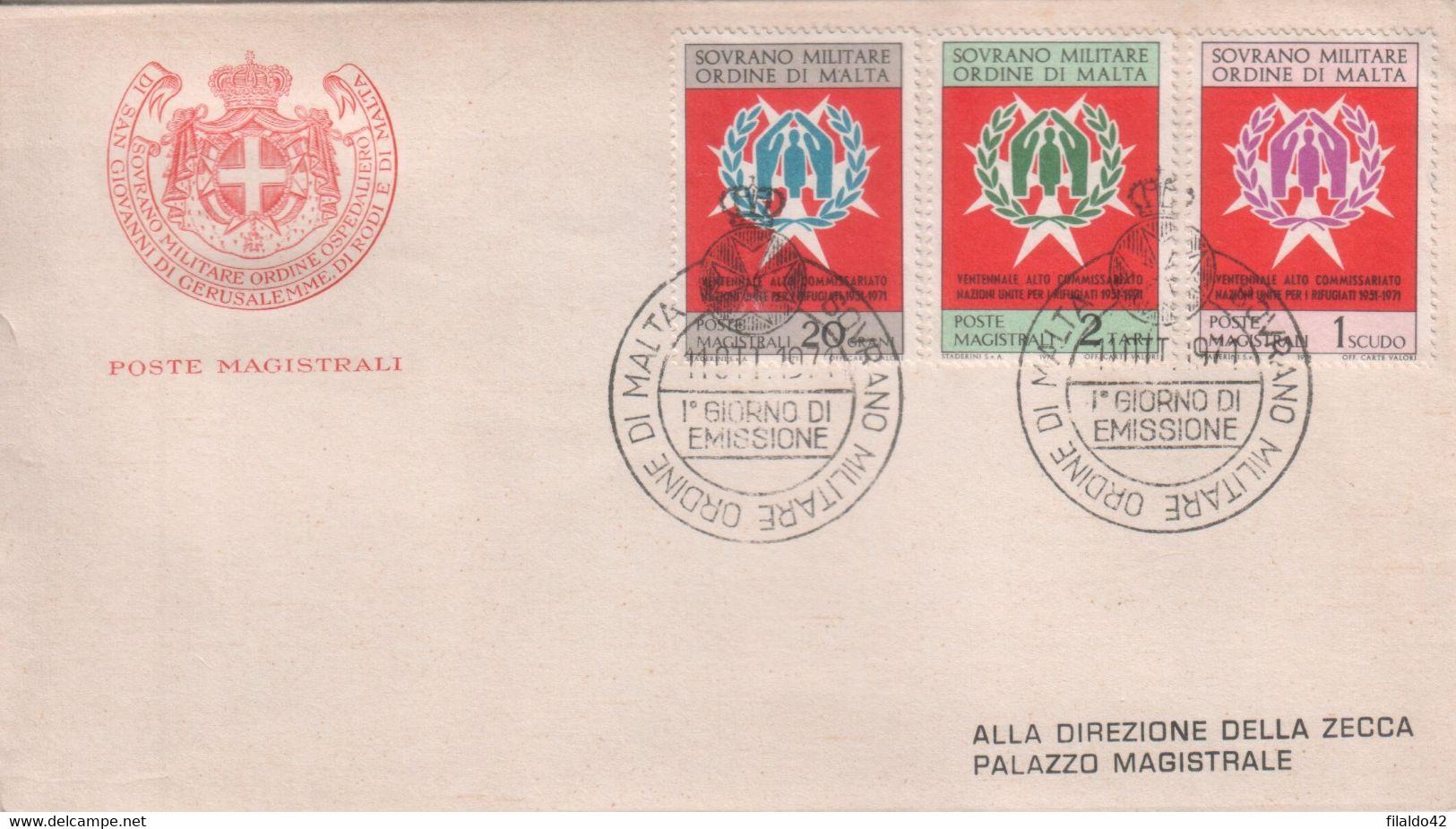"""SMOM - 1971 - FDC """"Ventennale Del Commissariato ONU"""" S. Cpl 3v (rif. 71/73 Cat. Unificato) - Malte (Ordre De)"""
