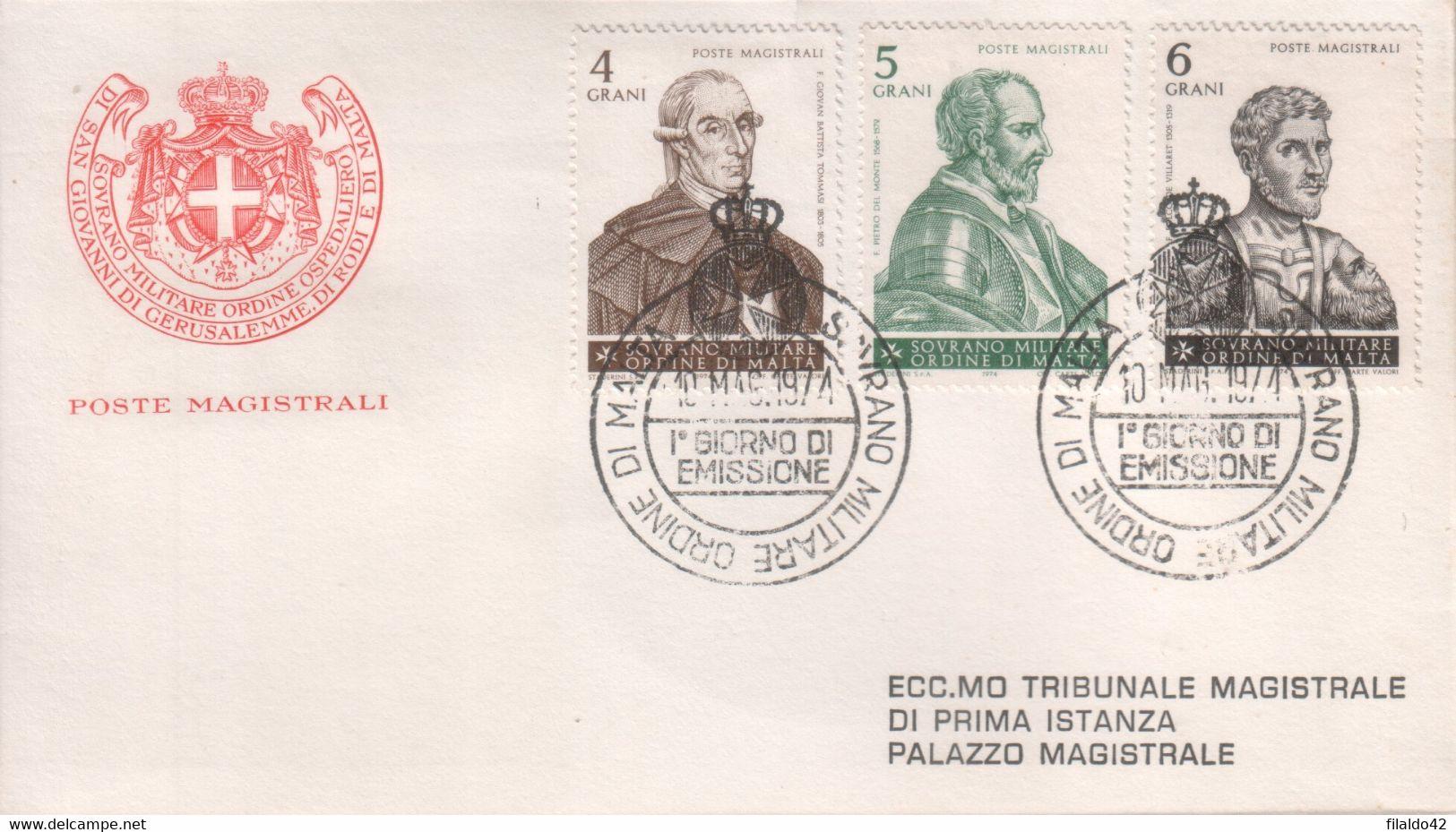 """SMOM - 1974 - FDC """"Grandi Maestri Dell'Ordina - 2^ Serie"""" S. Cpl 6v Su 2 Buste (rif. 94/99 Cat. Unificato) - Malte (Ordre De)"""