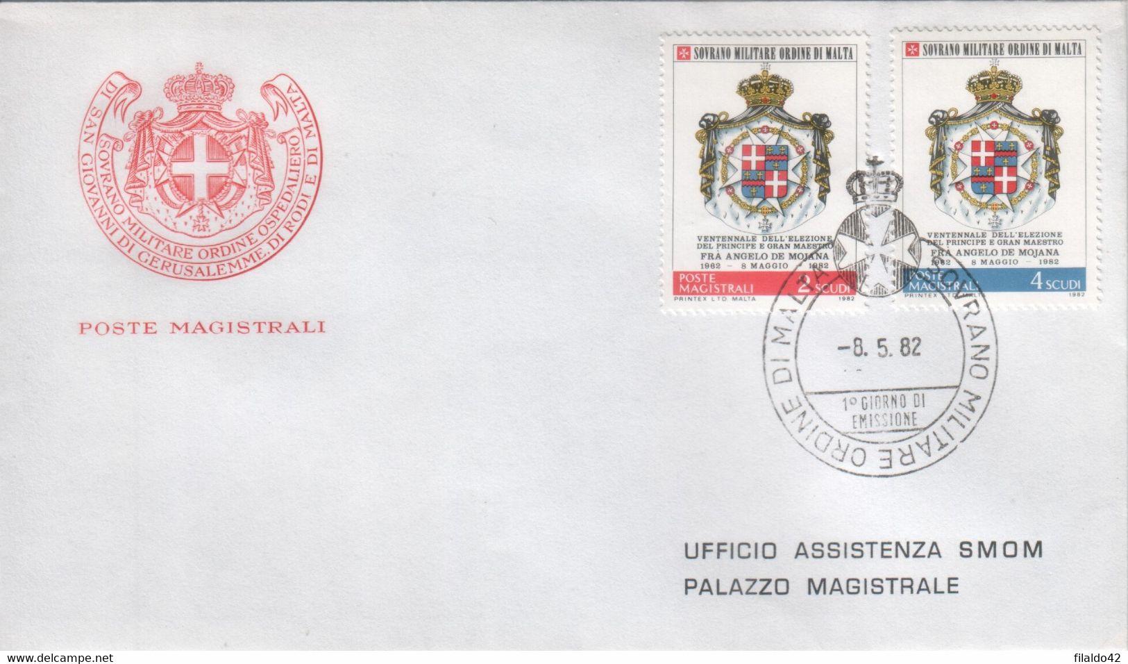 """SMOM - 1982 - FDC """"20^ Elezione DelGran Maestro A.de Mojana - 2^ Serie"""" S. Cpl 2v (rif. 208/09 Cat. Unificato) - Malte (Ordre De)"""