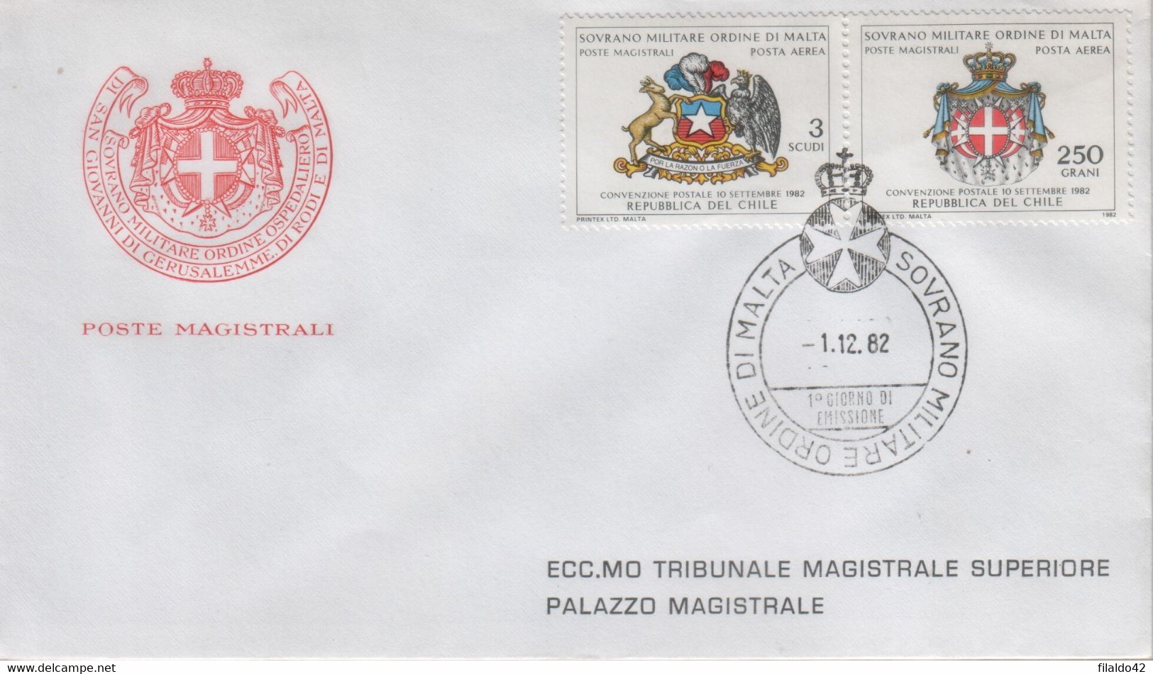 """SMOM - 1982 - FDC - Posta Aerea """"Convenzione Postale Col Cile"""" S. Cpl 2v Uniti (rif. A1/A2 Cat. Unificato) - Malte (Ordre De)"""