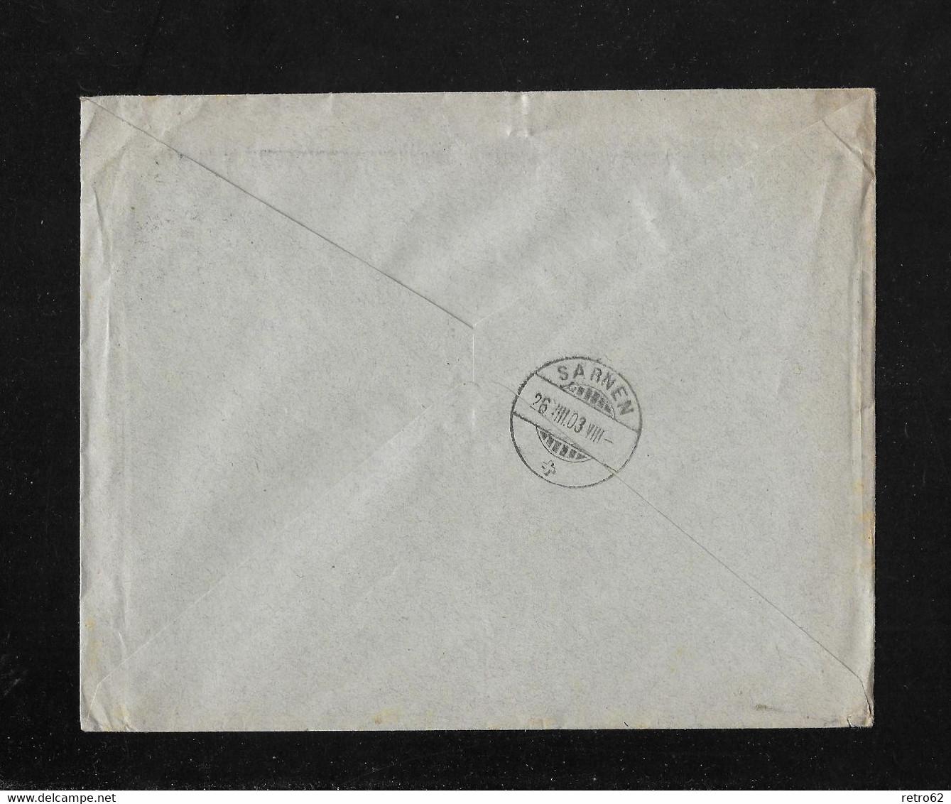 HEIMAT BERN → 1903 Briefumschlag Geiser & Cie, Eisen & Metallhandlung LANGENTHAL An Enzmann SARNEN - Covers & Documents
