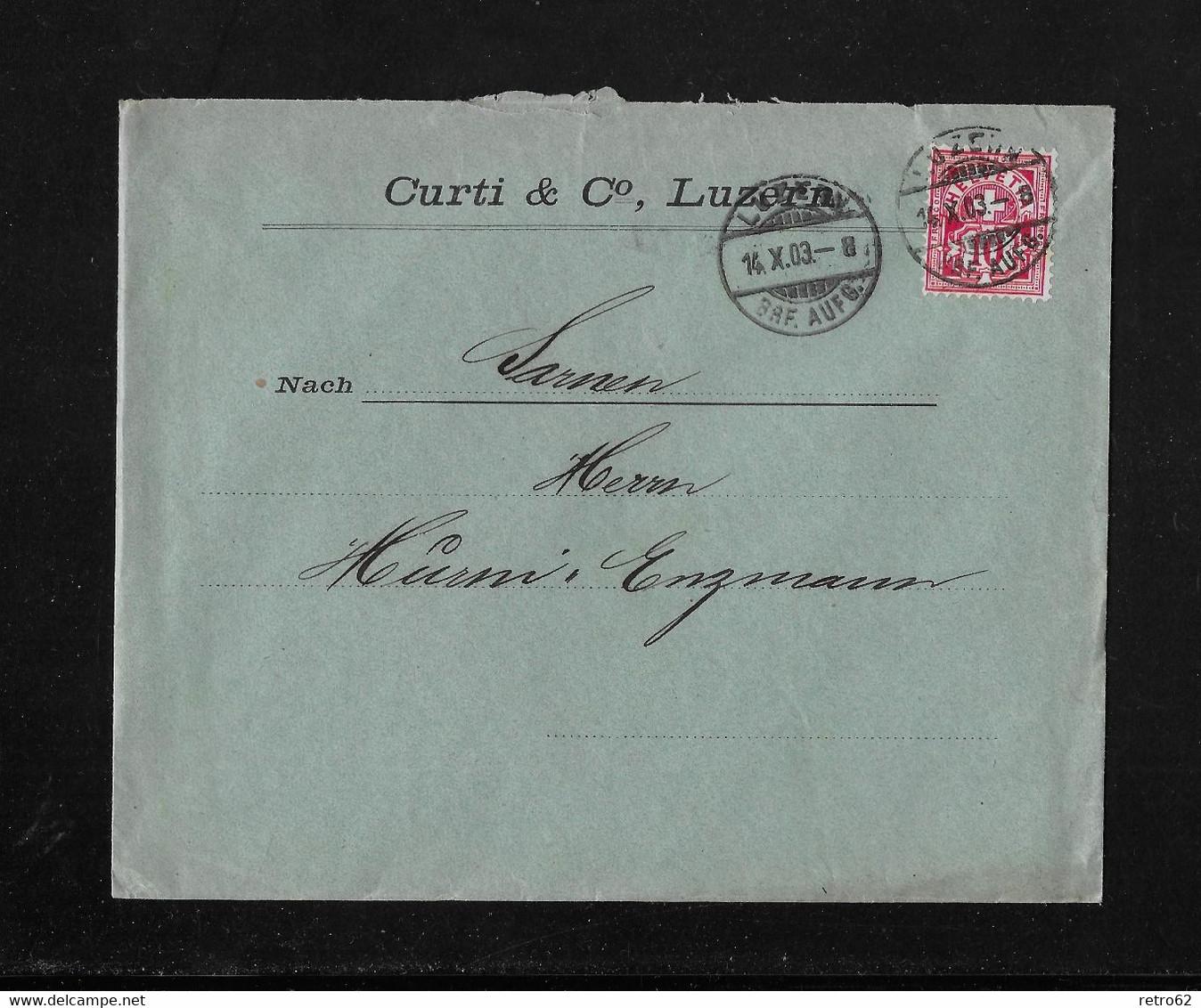 HEIMAT LUZERN →  1903 Briefumschlag Curti & Co. Luzern An Enzmann SARNEN - Covers & Documents