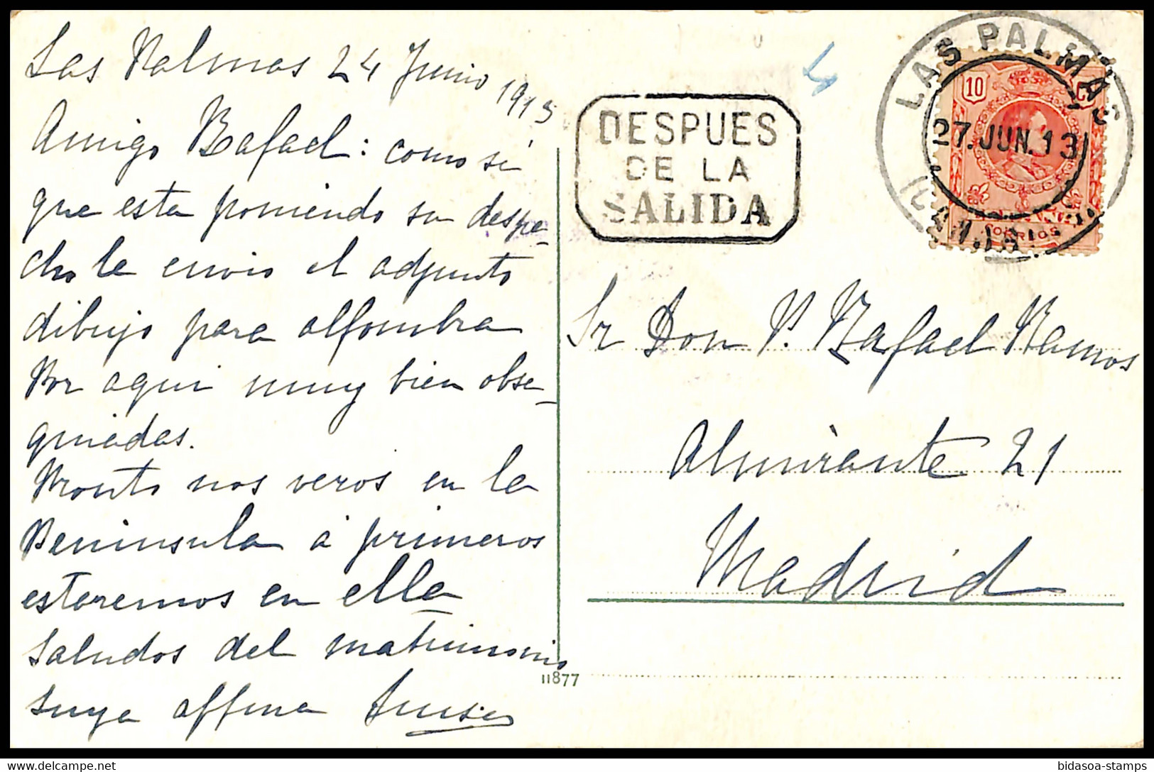 1913.Ed:269.Tarjeta Postal Circulada.Alfonso XIII.Matasello Fechador LAS PALMAS/CANARIAS En Negro Sobre 10 Cts Rojo.Marc - Cartas