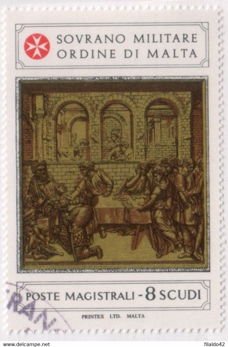 """SMOM - 1982 - USATO - """"Formelle Nel Battistero Del Duomo Di Siena"""" 1v (rif. 210 Cat. Unificato) - Malte (Ordre De)"""