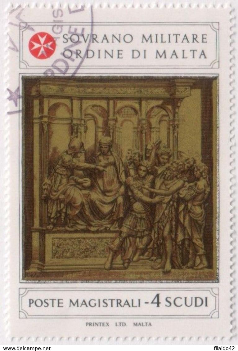 """SMOM - 1981 - USATO - """"Formelle Nel Battistero Del Duomo Di Siena"""" 1v (rif. 194 Cat. Unificato) - Malte (Ordre De)"""