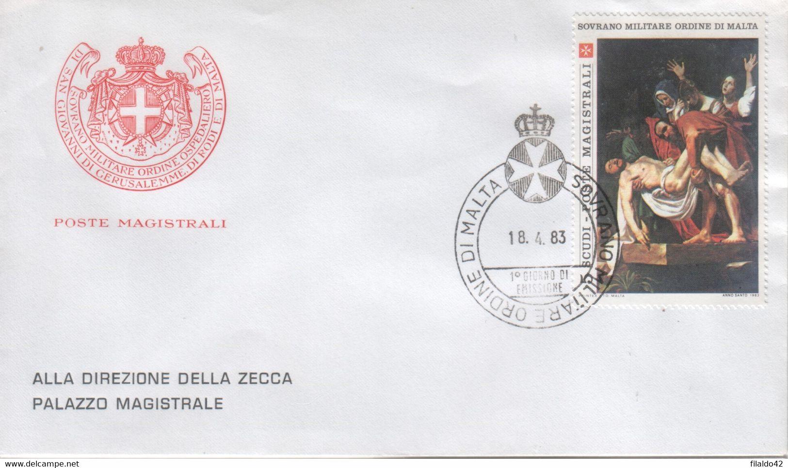 """SMOM - 1983 - FDC - """"Anno Santo - Caravaggio"""" 1^ Serie 1v (rif. 215 Cat. Unificato) - Malte (Ordre De)"""