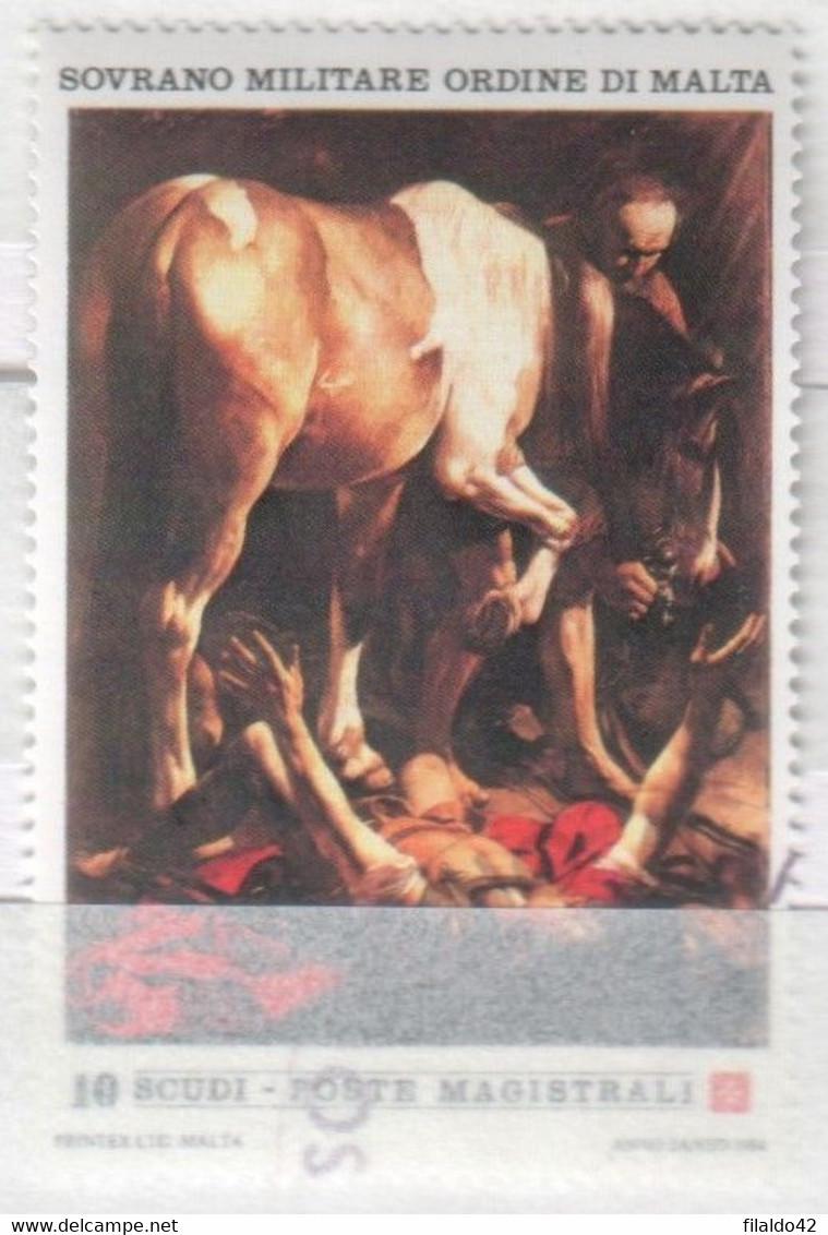 """SMOM - 1984 - Usato - """"Anno Santo - Caravaggio"""" 2^ Serie 1v (rif. 224 Cat. Unificato) - Malte (Ordre De)"""