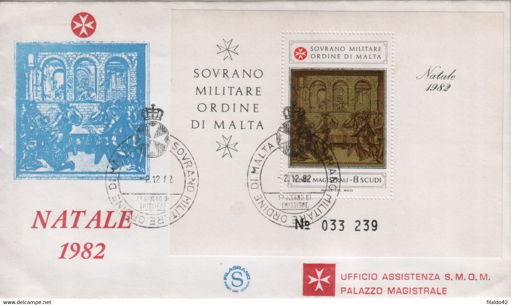 """SMOM - 1982 - FDC - """"Natale"""" In Foglietto (rif. BF16 Cat. Unificato) - Sovrano Militare Ordine Di Malta"""