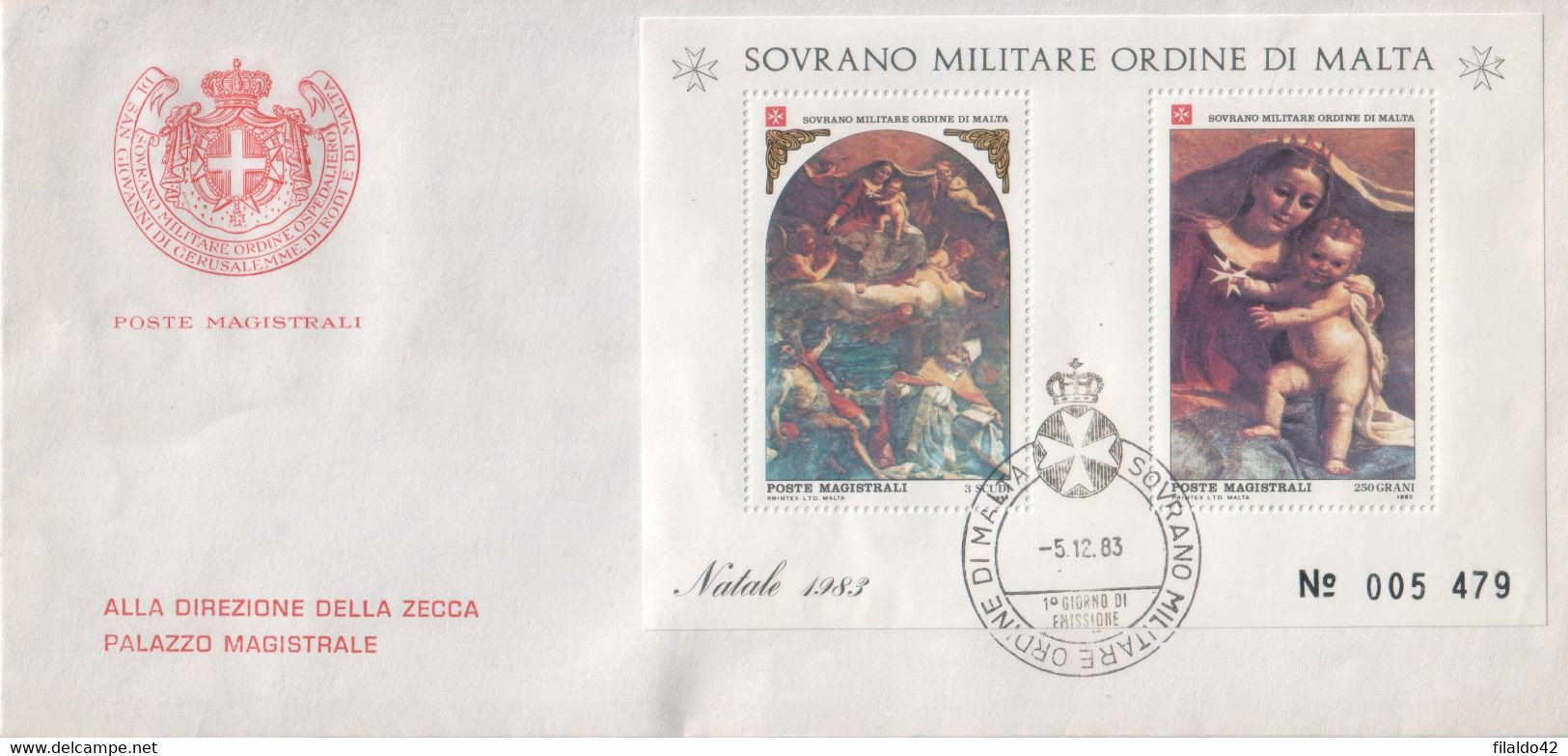 """SMOM - 1983 - FDC - """"Natale"""" In Foglietto (rif. BF17 Cat. Unificato) - Malta (la Orden De)"""