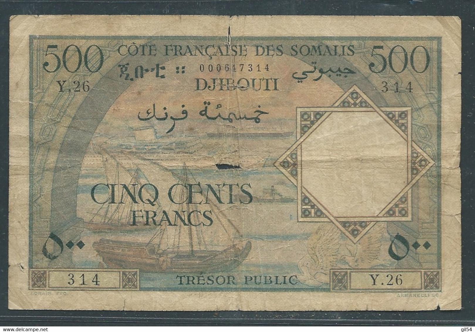 Billet  Côte Française Des Somalis 500 Francs Type 1952  Laura6501 - Djibouti