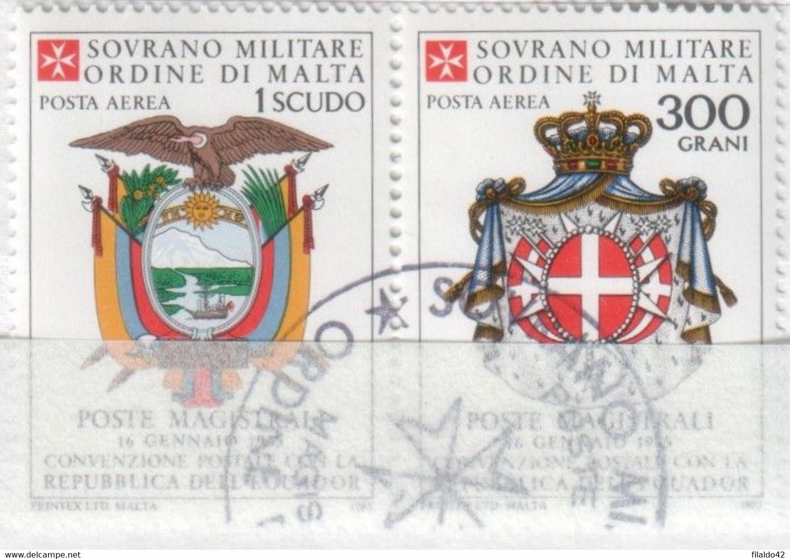 SMOM - 1985 Usato - AEREA Convenzione Postale Con L'Ecuador S. Cpl 2v Uniti (rif. A17/A18 Cat. Unificato) - Malte (Ordre De)