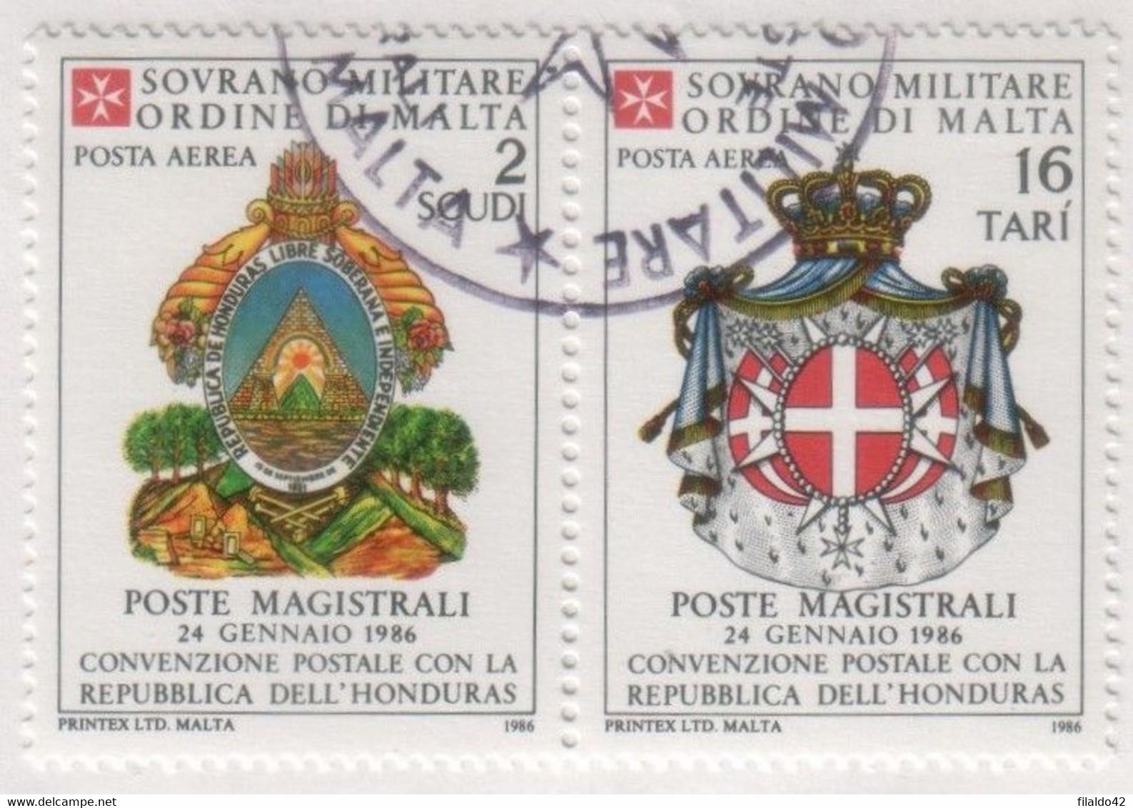 SMOM - 1986 Usato - AEREA Convenzione Postale Con L'Honduras S. Cpl 2v Uniti (rif. A23/A24 Cat. Unificato) - Malte (Ordre De)