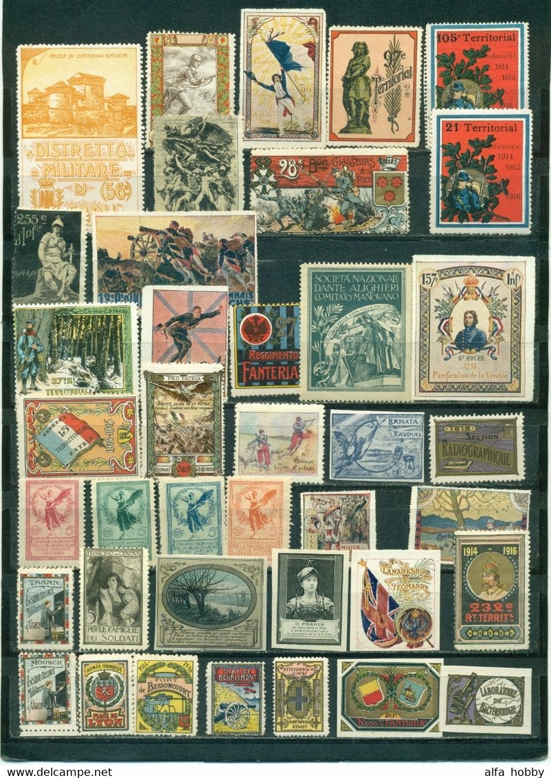 France, Italy, Europe Over 170 OLD No-postage Stamps Military, World War, Regiments Indochine Cochinchine RARE - Military Heritage