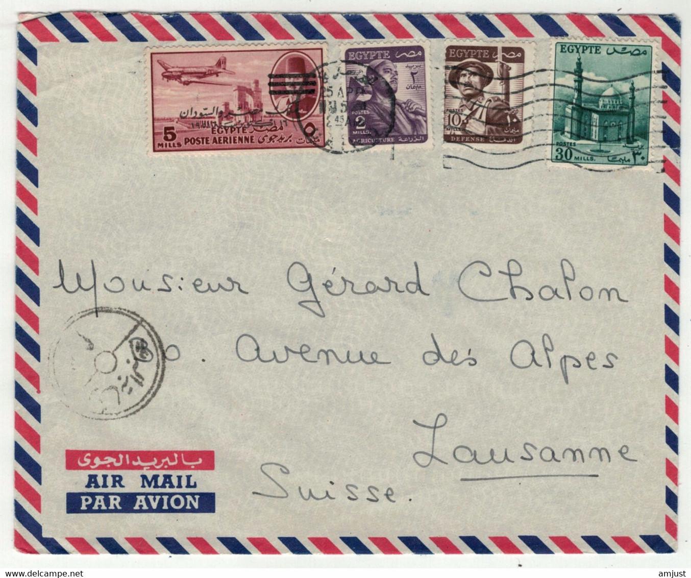 Egypte // Lettre Pour La Suisse (Lausanne) - Covers & Documents
