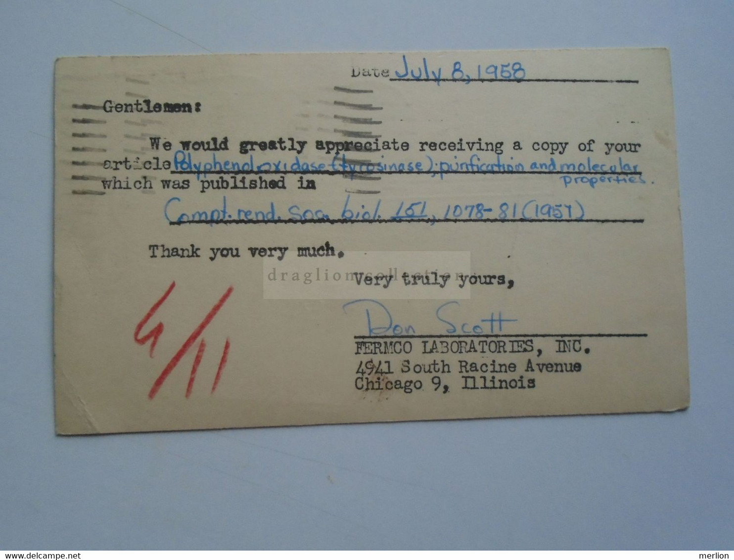 D179024 US Uprated Postal Stationery - Cancel 1958 Chicago ILL. Dan Scott -Fermco Labs -   To Dr. Denis Kertész   Italy - 1941-60