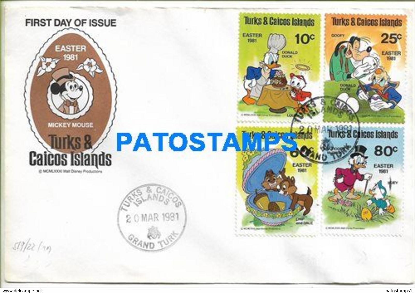 159738 AMERICA TURKS & CAICOS ISLANDS GRAND TURK COVER YEAR 1981 CANCEL MICKEY MOUSE DISNEY NO POSTAL POSTCARD - Turks & Caicos
