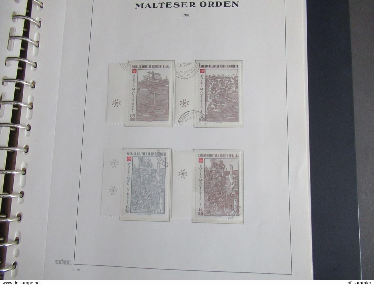 Sammlung Krüger VD Album Der Malteser Orden 1975 - 81 Mit Portomarken Doppelt Geführt Sauber ** Und O. Viele Randstücke - Malte (Ordre De)