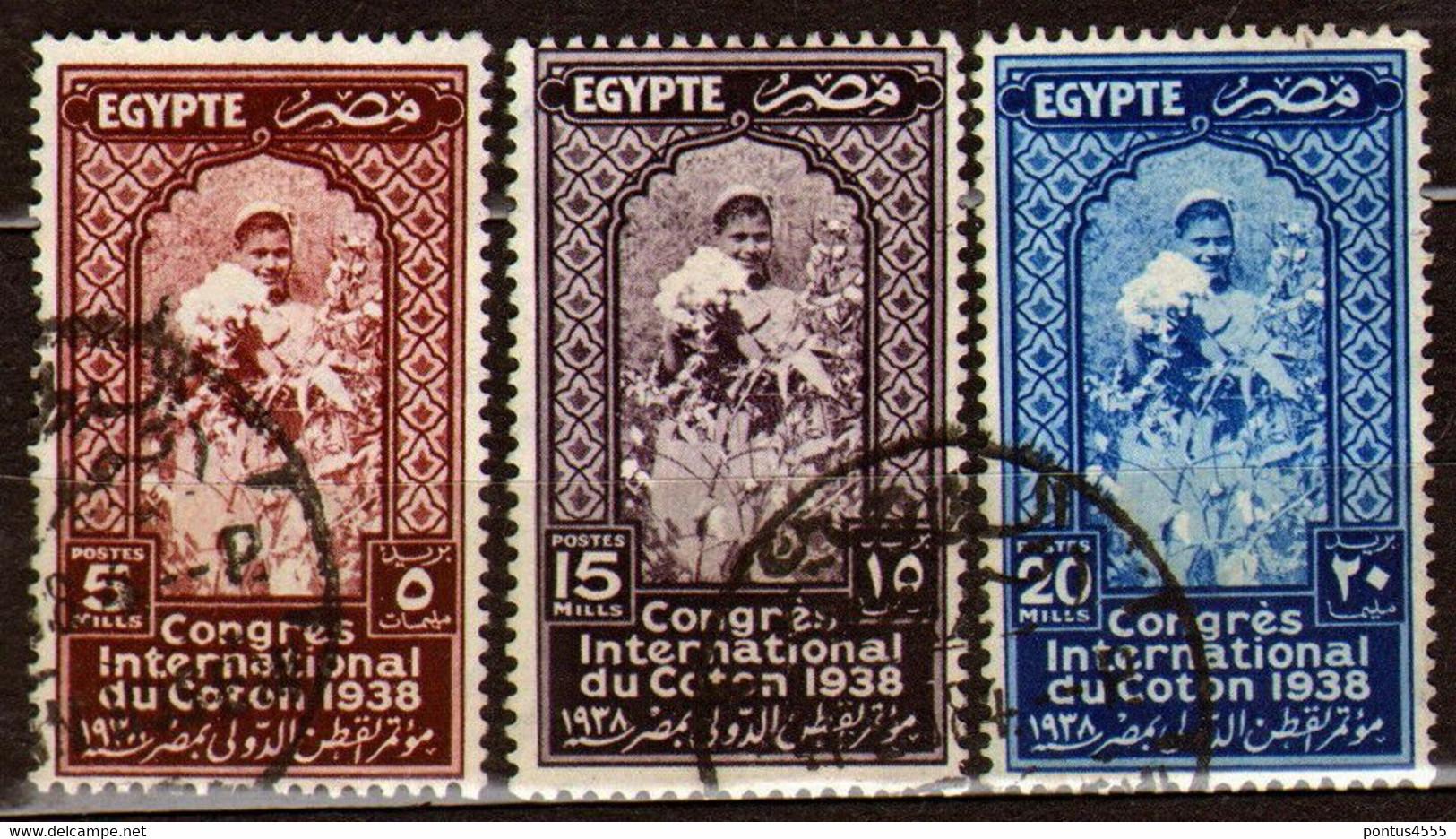 Egypt 1938 Mi 241-243 International Cotton Congress - Cotton Picker - CTO - Used Stamps