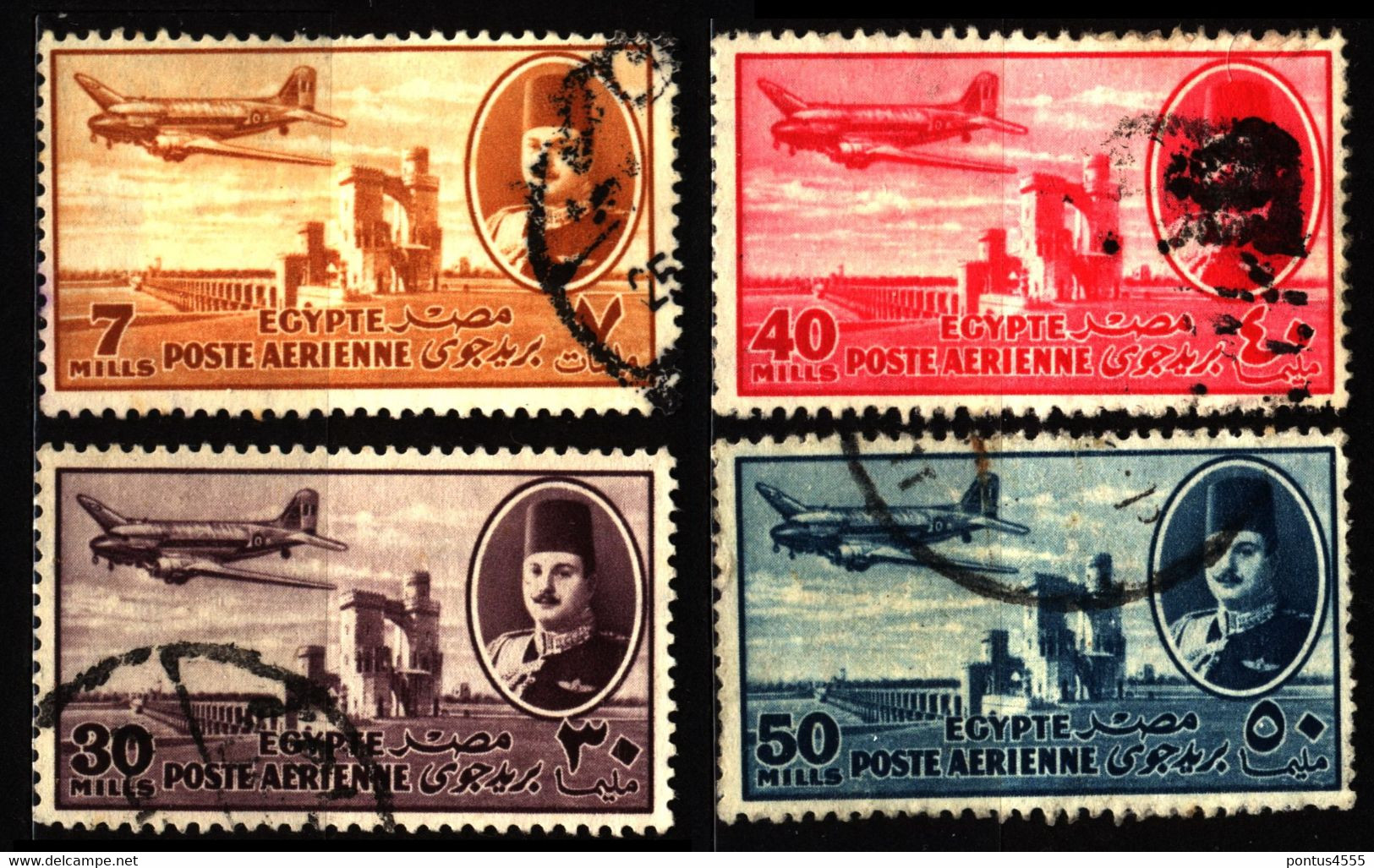 Egypt 1947 Mi 308_314 Air Post - Used Stamps