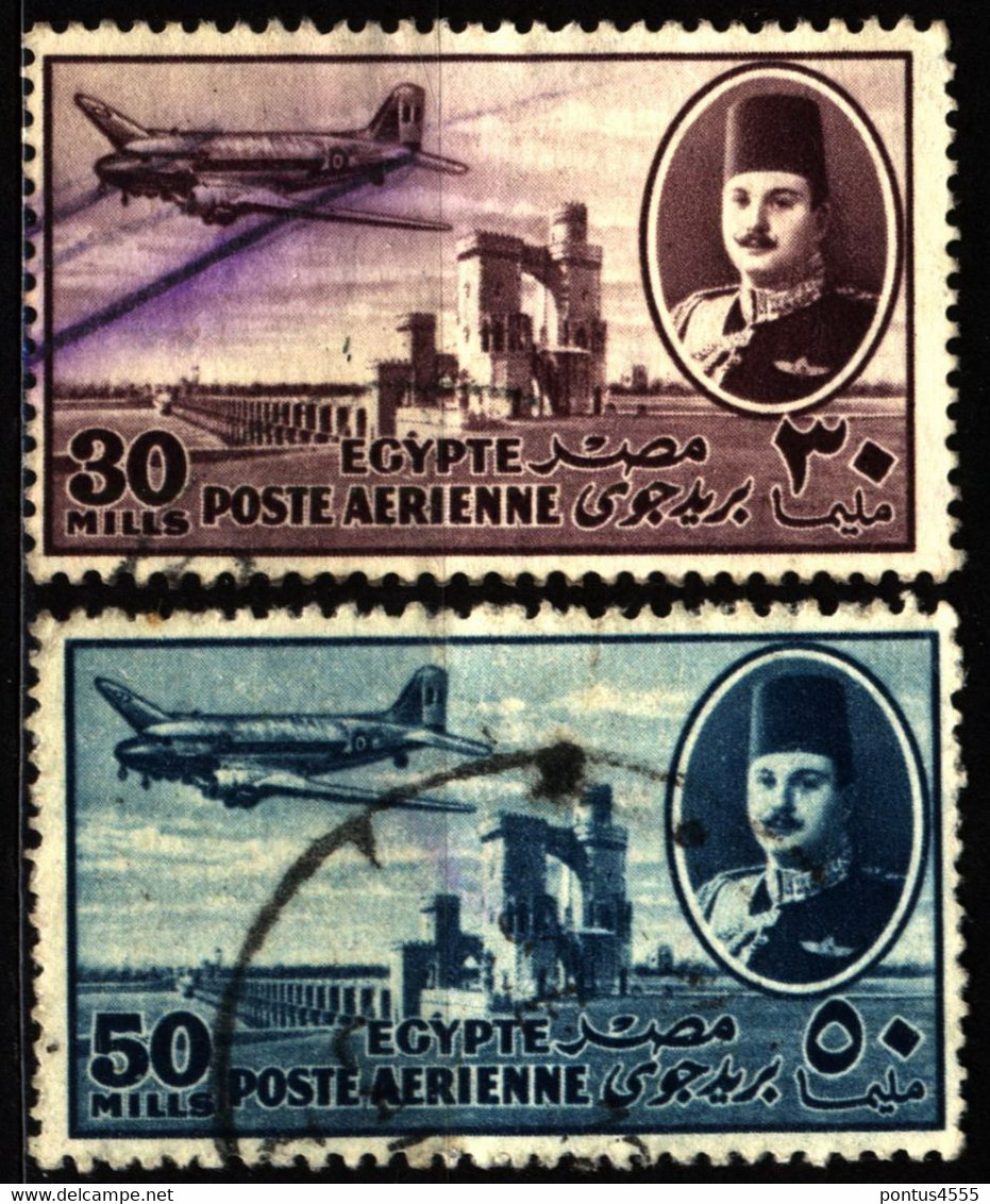 Egypt 1947 Mi 312, 314 Air Post - Used Stamps