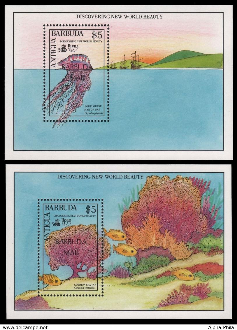 Barbuda 1990 - Mi-Nr. Block 158-159 ** - MNH - Signiert - Meerestiere - Antigua And Barbuda (1981-...)