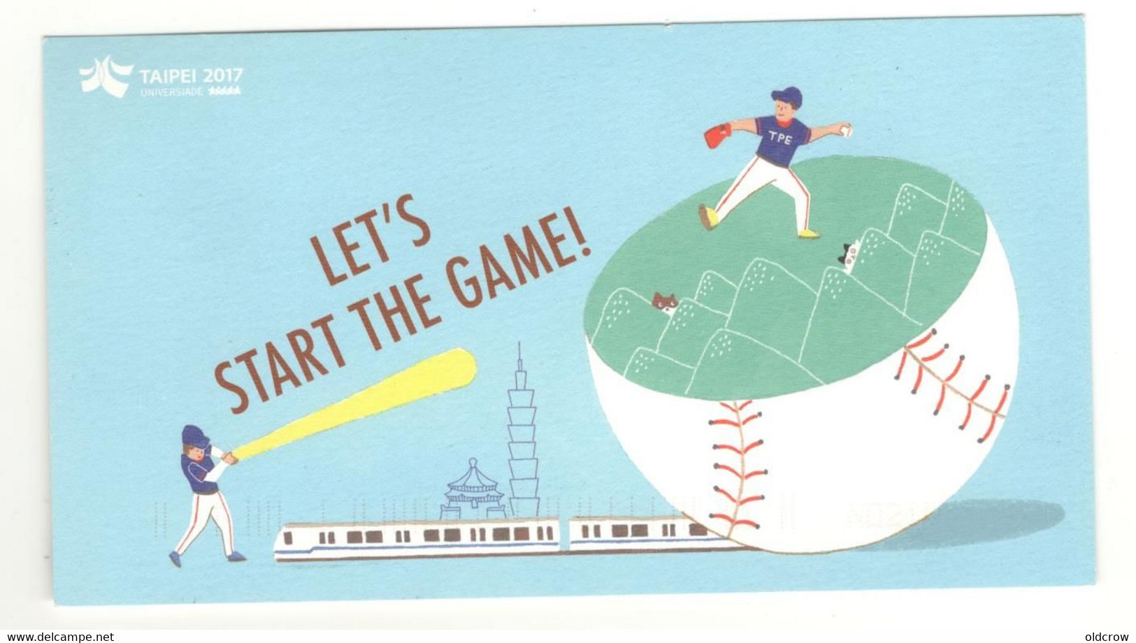 "China Postcard Used 2017 ""Lets Start The Game""   Baseball, Taipei, Taiwan. See Description AA - Baseball"