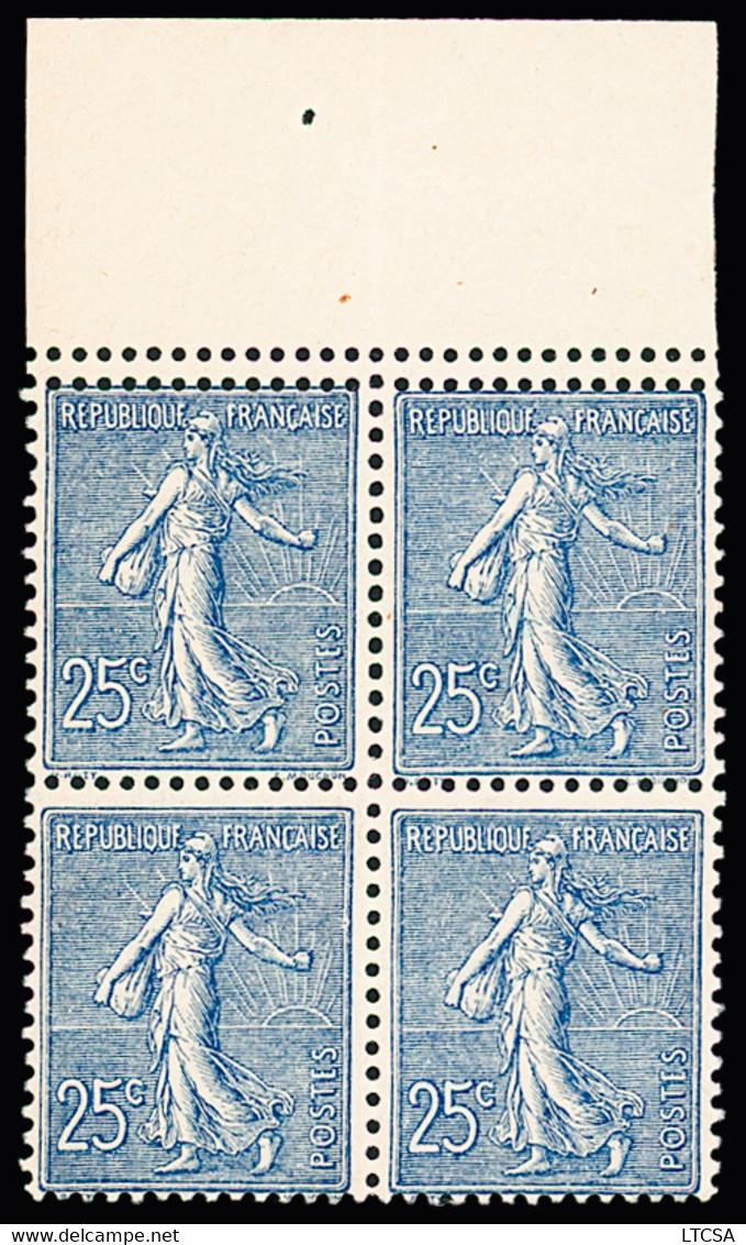 N° 132l 25c Bleu, En Bloc De 4, Piquage Double, TB, R. Signé Calves - Unclassified