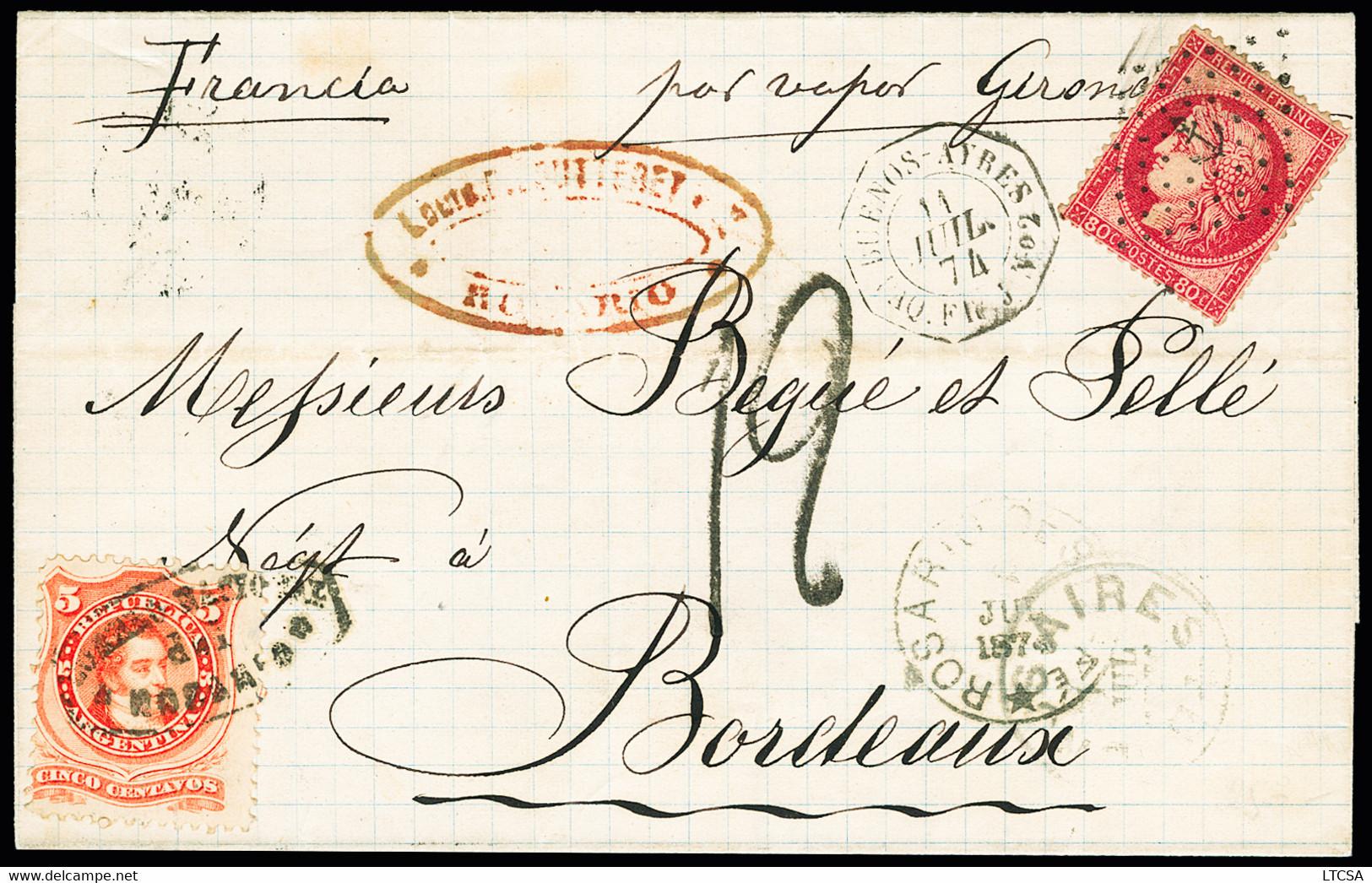 Timbre D'Argentine 5c Obl. Rosario En Combinaison Avec N°57 Obl. Ancre Sur Lettre 1874 Pour Bordeaux, Càd Buenos-Ayres P - 1871-1875 Ceres